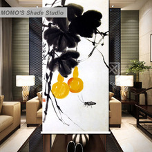 MOMO Thermal Insulated Blackout Fabric Custom Ink Painting Window Curtains Roller Shades Blinds, Alice 225-227