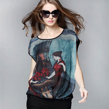 New Arrival Clothes Women T Shirts Vintage Oil Painting T-Shirt Women Tops Summer Casual Loose Tee Camiseta Feminina