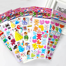 10 Sheets/lot 3D Puffy Bubble Stickers Mixed Cartoon Mickey Cars Spiderman Waterpoof DIY Children Boy Girl Toy
