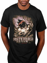 Men'S Fashion Funny Disturbed Asylum T Shirt Metal Band Merch System Of A Down Fight Or New Printed T Shirt O-Neck Cool Tops(China)