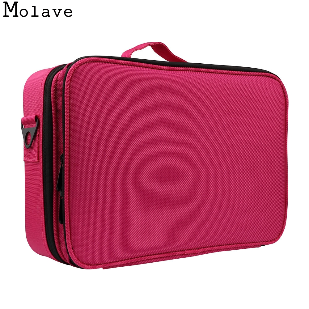 MOLAVE cosmetic bag 3 Layers Waterproof Makeup Bag Travel Case Brush Holder with Adjustable travel cosmetic bag dec14<br>