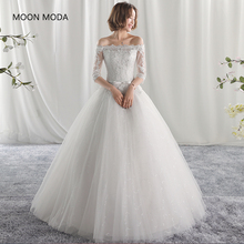 Buy long half sleeve muslim lace wedding dress high 2018 bride simple bridal gown real photo wedding-dress vestido de noiva for $59.00 in AliExpress store
