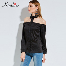 Buy Spring Women Black Blouse Shoulder Gothic Halloween Shirt Collar Halter Top Blouse Long Sleeve Sexy Cool Satin Blouse