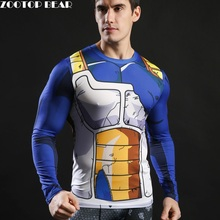2017 Long Sleeve Anime Camiseta Harajuku Tshirt Vegeta T-shirts Dragon Ball Printed T shirt Compression Fitness Tops ZOOTOP BEAR(China)