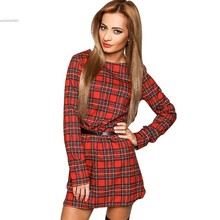 2016 Explosions Leisure Vintage Dresses Autumn Fall Women Plaid Check Print Spring Casual Shirt Dress Mini