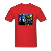Screen Printing T-Shirt for Men School Men Tops Godzilla Starry Night Plus size disaster film Theme Quilt Tops casual Camisa