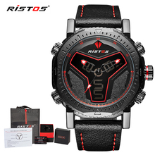 RISTOS Multifunction Leather Watches Men Fashion Sport Quartz Watch Reloj Masculino Hombre Digital Analog LED Wristwatch 9341(China)