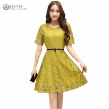 2017 Womens Elegant Sexy Lace See Through Tunic Medium Dress Casual Belt Club Bridesmaid Skater A-Line Party Dresses  OKA190