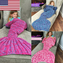 Hot Kids Girls Mermaid Tail Sofa Blanket Super Soft Warm Hand Crocheted Knitting Wool Sleeping Bag Robe for Children(China)