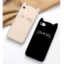 New Japan Cute 3D Glitter Bearded cat case For iPhone 6 6s 7 4.7 inch 6 plus 6s plus 7plus Cartoon soft silicon Coque back cover