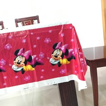 1pcs 1.8*1.08m minnie mouse tablecloth for favor kids girls birthday party decoration supplies tablecloth(China)