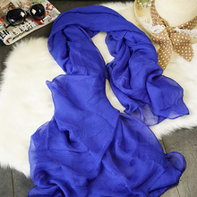Fashion Women Ladies Long Solid Chiffon Scarf Wrap Shawl Girls Large Silk Scarves Cheap Wholesale Trade Clothes CO173W