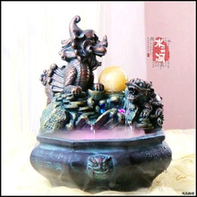 The water fountain waterscape decoration home feng shui Shou turtle kylin round ornaments shop Zen gifts humidifier(China)