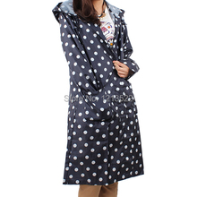 Fashion Outdoor Coat Polka Dot Portable Hooded Raincoat Rain Cape Stock Offer Wind Proof Ponchos Trench Rain Coat
