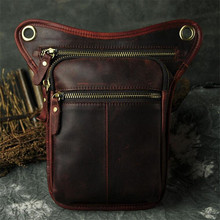Steelsir Men The First Layer Oil Genuine Leather Leg Bags Tide Of Foreign Trade Cell Phone Camera 8 Inches Waist Bags(China)