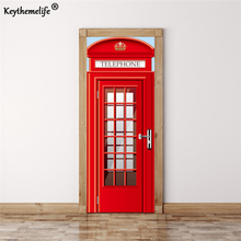 Keythemelife 2 pcs/ set European telephone booths DIY Mural Imitation Wall Stickers Waterproof PVC 3D Door Sticker Home Decor E