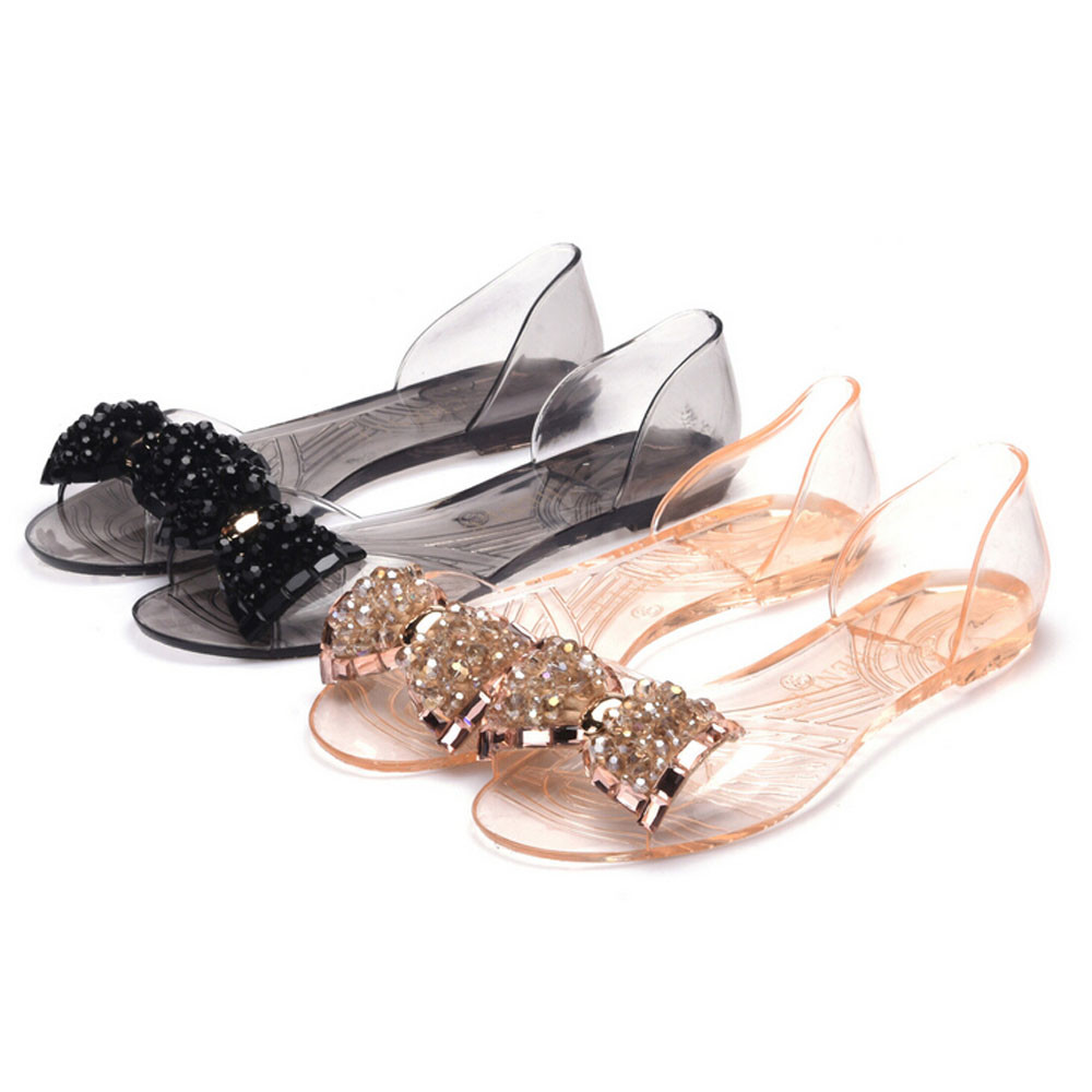Hot Sale 2016 New Women Fashion Slipper Summer Female Plastic Beach Shoes Jelly color Crystal Bowknot Flat Casual Sandals<br><br>Aliexpress