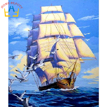 New home decor pictures on canvas diy oil painting by numbers drawing nodular pictures one the wall art sailboat Y021(China)