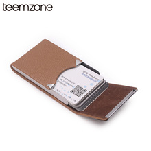 Trend Men's Unisex Leather Stainless Steel  Hasp Business ID Credit Metal Bank Card Case Card Box Large Capacity Card Bag M166