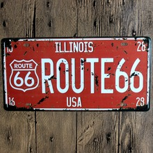 RED ROUTE 66 Tin Sign Iron Wall sticker Metal License Plate Antique USA STYLE Metal Tin Painting Pub DECOR Shop Decor(China)