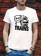 LEQEMAO I LIKE TRAINS TRAIN ASDFMOVIE ASDF T SHIRT MOVIE MUSIC FUNNY Logo Print ROCK YouTube TEE TOP Video T-shirt(China)