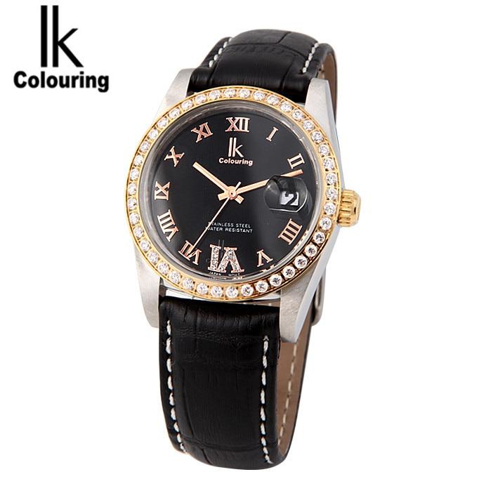 IK Coloring Fashion Relogio Feminino Day Quartz Women Watches PU Leather Wristwatch Free Ship<br><br>Aliexpress