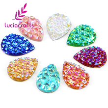 Lucia crafts 48pcs/lot 10*14mm AB Resin Flatback Rhinestones Waterdrop Sew-on Stones Sewing Crystals DIY Handcraft 080002054