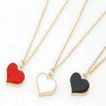 2017 New Korean Fashion Heart-shaped Pendant Necklace Pretty Girl Necklaces Simple Alloy Jewelry Black White Red colours