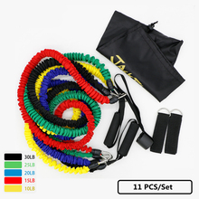 11PCS/Set Elastic Rubbe Resistance Bands Fitness Workout Pilates Yoga Pull Up Rubber Crossfit Tensile Expander Sports Equipment(China)