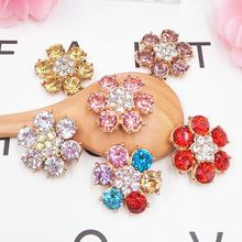 2pcs DOWER ME Big Gem Flower DIY Decoration 3D Mobile Phone Decorations 3D Alloy Stickers for Phone Autocolantes No Telefone(China)