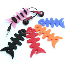 wholesale 2000pcs/lot good quality silicone earphone winder cable reel winder fish fishbone Headphone cable