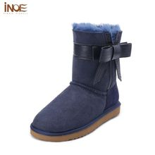INOE Sheepskin Lined Boots Sheepskin Leather Winter Boots For Women Fur Fashion Women's Shoes Fur Lined Boots Blue Size 10
