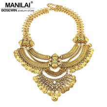 MANILAI Women Vintage Big Necklaces Chunky Chain Chokers Coin Statement Necklaces & Pendants Fashion Jewelry Maxi Colar 2016