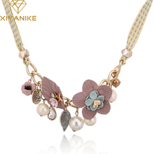 XIYANIKE New Fashion Jewelry Sweet Candy Colors Flower Leaves Fabric Necklaces & Pendants Choker Statement Necklace Women N585(China)