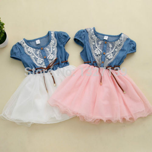 Details about Fashion Girls Kids Princess Flower Lace Denim Tulle Short Sleeve Summer Dress<br><br>Aliexpress
