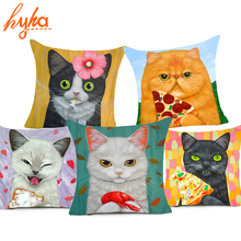 Hyha Cartoon Cat Polyester Cushion Cover Animal Funny Pet 43X43cm Pillow Case Home Decorative Pillows Cover For Sofa Car Cojines