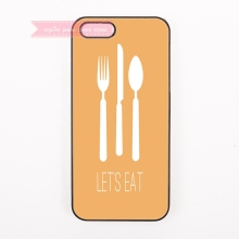 cute Spoon knife fork letter let's eat pattern Hard Back Cover Phone Case For iphone 4s 5 5s 5c 6 6S plus 7 7 Plus case Figures(China)