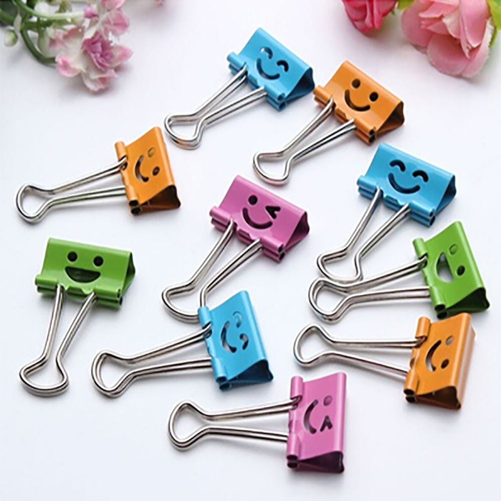 Cute Binder Clips 10 Pcs Metal Clip Paper Smile Album Paper Clips Stationary Office Supplies D329(China)