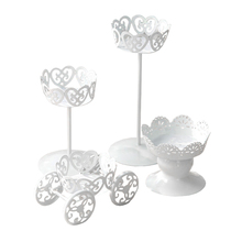 FJS-4pcs Mini White Dessert Stand with Premium Steel Material Cupcake Display, Perfect for Birthday, Baby Shower, Thanksgiving