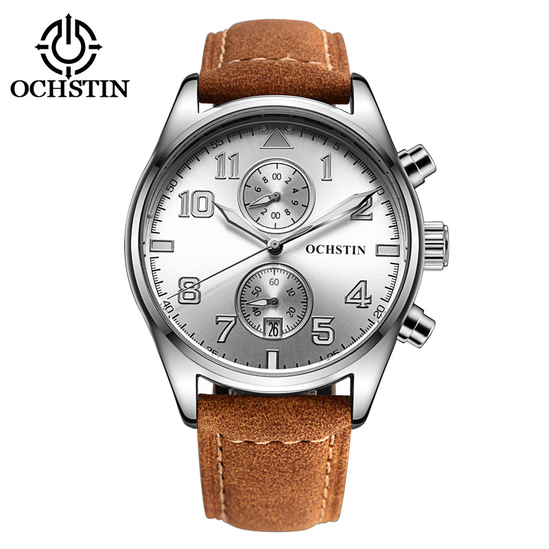 Genuine Leather Strap Men Quartz Wristwatches Waterproof Stainless Steel Watch Clasp Buckle top brand fashion Watches for male<br>