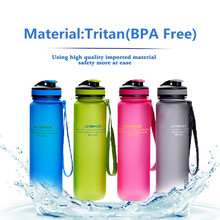 Tritan(BPA Free) My Fashion Water Bottles 1000ml Scrub Portable Space Resistant Sports Nutrition Custom My Shaker Bottle 4Color(China)