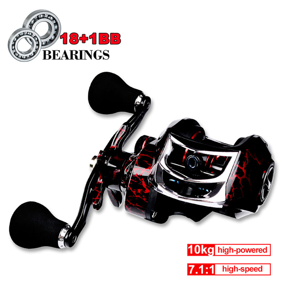 Fishing Baitcasting Reel Spinning 18+1BB 10kg/22LB Drag Super Strong Magnetic Force Speed Ratio 7.1:1 Metal Casting Fishing Reel title=