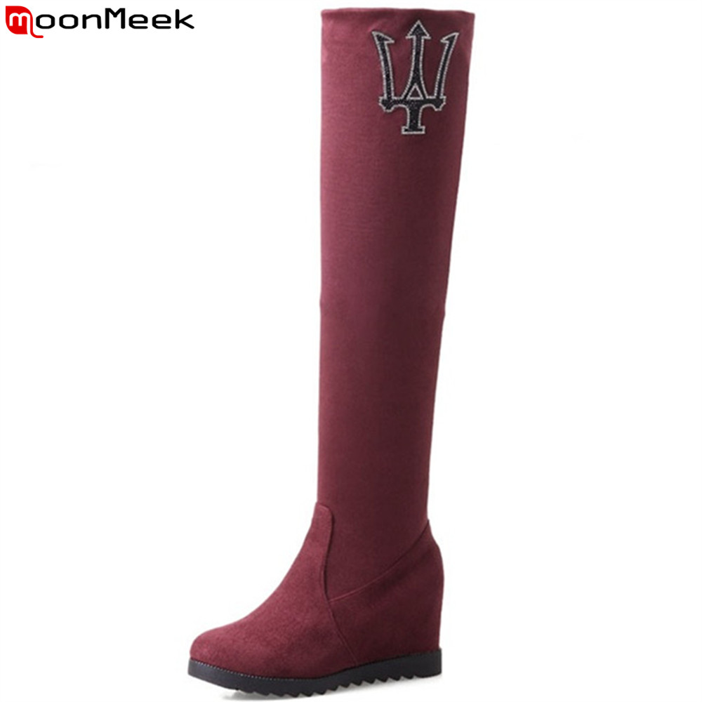 MoonMeek 2018 fashion new arrive women boots black red brown flock ladies boots round toe height increasing over the knee boots<br>