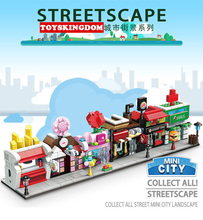 Hot city mini street view building block flower Candy coffee chemist's shop French fries Burger Restaurant bricks toys for kids