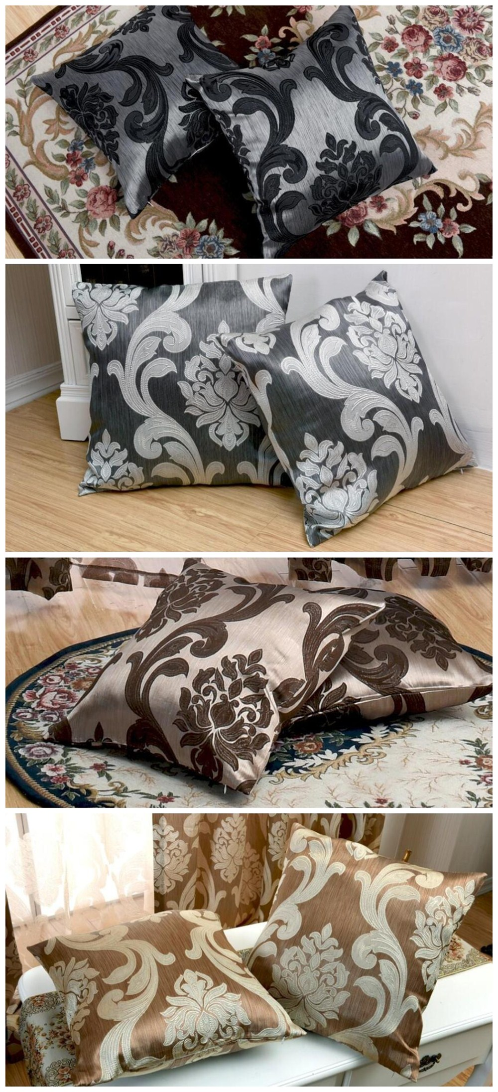 LOZUJOJU Floral Jacquard Hot Sale European Pillow Cases Cushion Covers for Home Decor Textile Rustic Bedroom Chair Living (2)