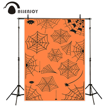 Allenjoy photography backdrops Halloween Decor Orange Spider Web lovely Party Background Kids Background For a photo shoot(China)