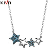 KIVN Womens Fashion Jewelry Blue Stars Cubic Zirconia Bridal Wedding Necklaces Promotional Christmas Girls Mothers Day Gifts(China)