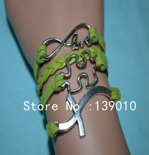 Woven Green Leather Suede Silver Cross Puzzle LOVE Infinity Charm Bracelet Bangle 2016 New Fashion Women Jewelry Wholesale Price(China)