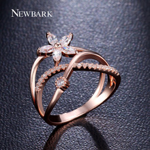 NEWBARK Delicate Flower Finger Ring Rose Gold and Silver Color Paved Tiny Zirconia CZ Jewelry For Valentine's Day Gifts(China)