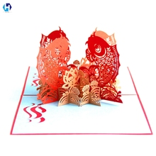 Chinese new years greeting cards promotion shop for promotional red koi pop up card chinese new year greeting cards laser cut postcards with envelope m4hsunfo